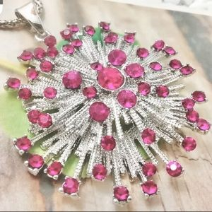 Betsey Johnson Pink and Silver Starburst Necklace